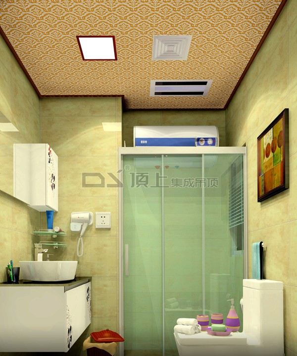 顶上集成吊顶产品效果图-浴室吊顶可以根据不同造型,选用多种材料
